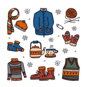 Różne zimowe ubrania