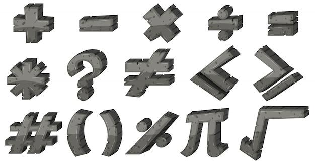 Różne znaki matematyczne w szarych czcionkach