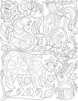 Różne zwierzęta lis ptak zając pies lis koń bezbarwny rysowanie linii wiele dzikich stworzeń