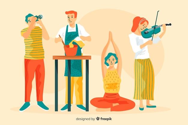 Różni ludzie cieszący się swoim hobby