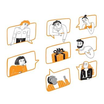 Różni ludzie na wielu oknach, patrząc w ten sam punkt, podobny cel, branding pomysłów biznesowych, ręcznie rysowane ilustracje wektorowe