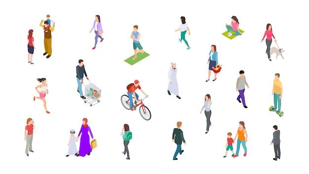 Różni ludzie. osoby izometryczne, dzieci, mężczyźni, kobiety. 3d wektor spacer aktywnych ludzi, biznesmen, sportowcy na białym tle. ilustracja kobieta i mężczyzna chodzą, biegają i jeżdżą
