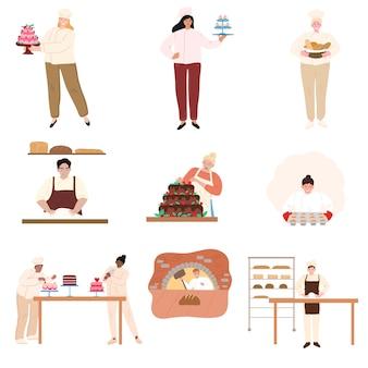 Różni ludzie piec i gotuje w kuchennej wektorowej ilustraci