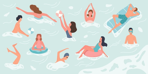 Różni ludzie pływają i odpoczywają w morzu lub oceanie wykonując różne czynności. postacie spędzają czas wakacji letnich.