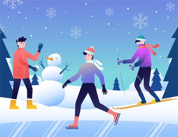 Różni ludzie robią zimowe zajęcia na świeżym powietrzu