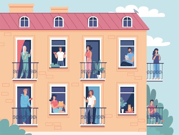 Różni ludzie sąsiedzi spędzają czas w izolacji podczas kwarantanny