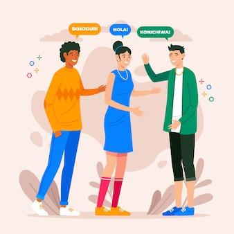 Różni młodzi ludzie rozmawiają w różnych językach