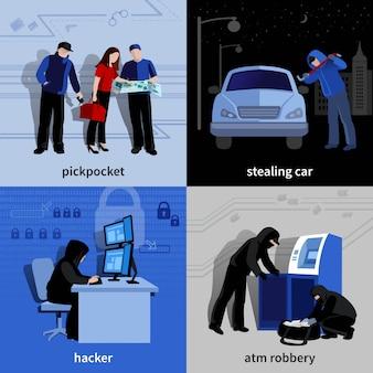 Różni włamywacze i przestępcy popełniają przestępstwa płaskie pojedyncze elementy i postacie zestaw ilustracji wektorowych