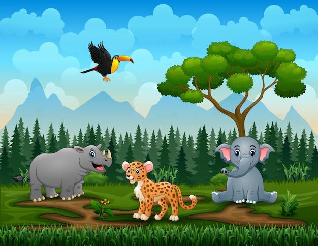 Różni zwierzęta w parkowej ilustraci jakby
