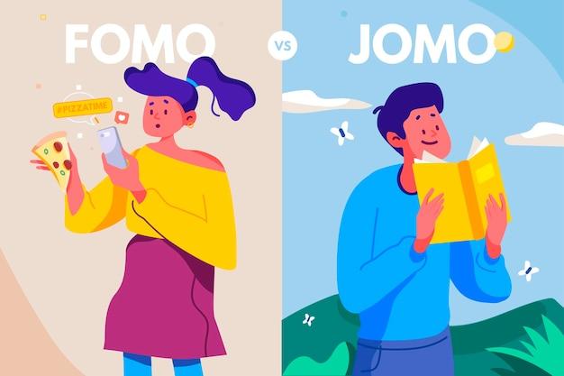 Różnica między fomo i jomo