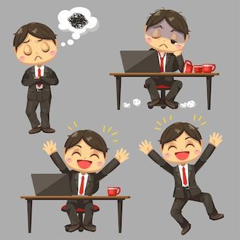 Różnica uczucia biznesmena pracującego w ruchliwej godzinie w płaskiej ilustracji postać z kreskówki dalej