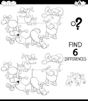 Różnice gra dla dzieci z psami kolorowanka