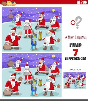 Różnice gra edukacyjna dla dzieci z postaciami świątecznymi