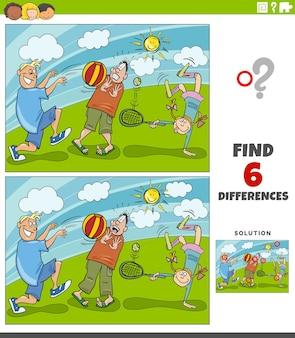 Różnice gra edukacyjna z dziećmi bawiącymi się w parku