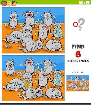 Różnice gra edukacyjna z postaciami zwierząt kotów