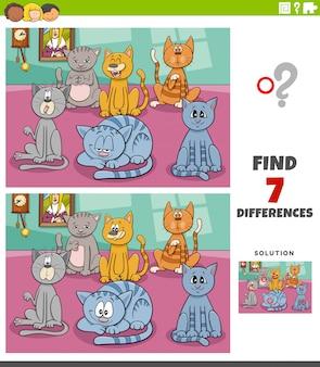 Różnice zadania edukacyjne z grupą kotów kreskówek