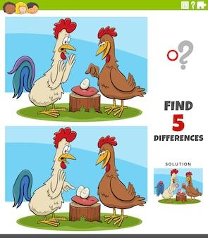 Różnice zadanie edukacyjne dla dzieci z kogutem i kurą
