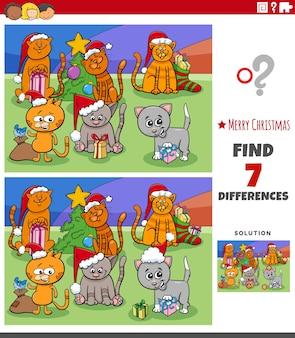 Różnice zadanie edukacyjne dla dzieci z kotami na boże narodzenie