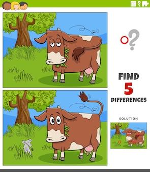 Różnice zadanie edukacyjne dla dzieci z krową na pastwisku