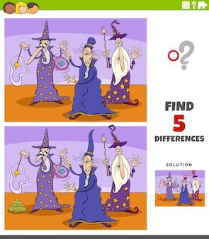 Różnice zadanie edukacyjne dla dzieci z postaciami fantasy czarodziejów
