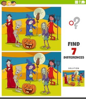 Różnice zadanie edukacyjne dla dzieci z postaciami halloween