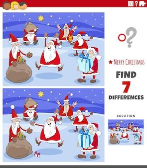 Różnice zadanie edukacyjne dla dzieci z postaciami świątecznymi