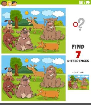 Różnice zadanie edukacyjne dla dzieci z psami