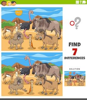 Różnice zadanie edukacyjne dla dzieci ze zwierzętami
