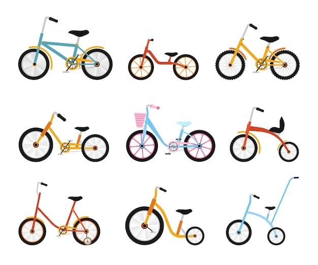 Różnorodna kolekcja rowerów dla dzieci. kolorowe rowery z różnymi rodzajami ram. płaski zestaw ilustracji.