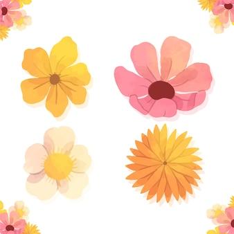 Różnorodna kolekcja wiosennych kwiatów akwarela