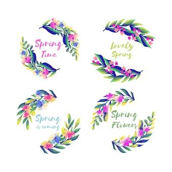 Różnorodne etykiety akwarelowe na sezon wiosenny