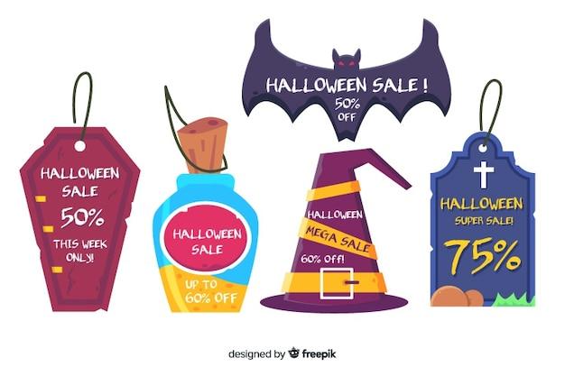 Różnorodne etykiety do sprzedaży na halloween