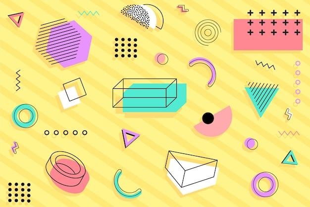 Różnorodne geometryczne kształty memphis tło