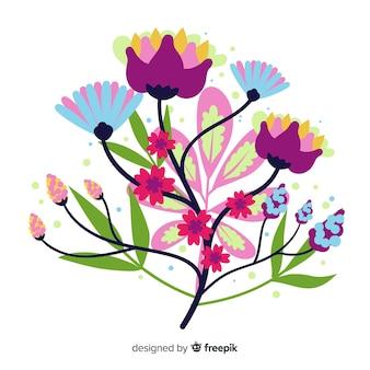Różnorodne kolory wiosennych kwiatów w płaskiej konstrukcji