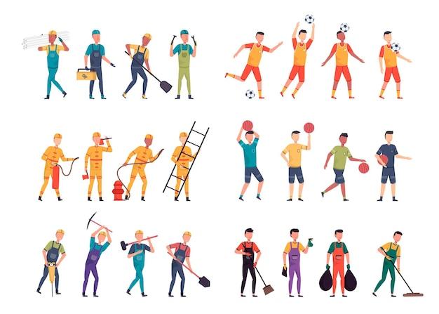 Różnorodne pakiety zadań do hostowania prac ilustracyjnych, takich jak brygadzista, sportowiec, strażak, robotnik, kelner