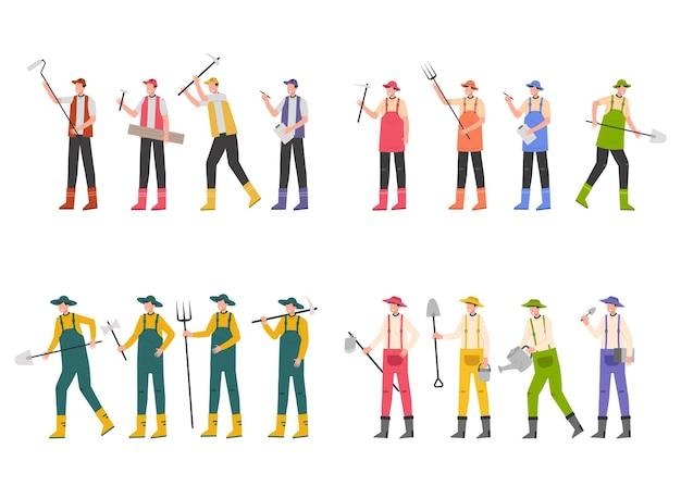 Różnorodne pakiety zadań do hostowania prac ilustracyjnych, takich jak rolnicy