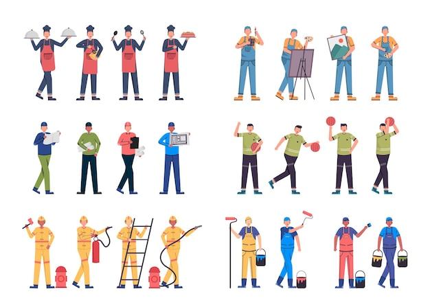 Różnorodne pakiety zadań do hostowania prac ilustracyjnych, takich jak szef kuchni, artysta, operator, sportowiec, strażak, malarz