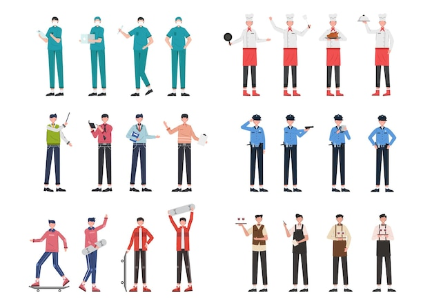 Różnorodne pakiety zadań do prowadzenia prac ilustracyjnych, takich jak lekarz, szef kuchni, wykładowca, policja, sportowiec, kelner