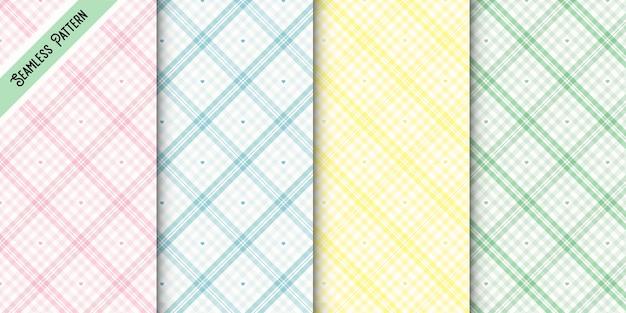 Różnorodne pastelowe wzory w kratkę