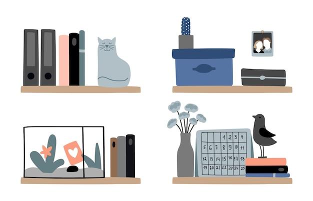 Różnorodne półki na książki. domowe dekoracje regałów, przytulne skandynawskie elementy wystroju wnętrz. książki, kwiatowe pudełka dla kotów wektor zestaw