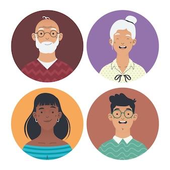 Różnorodne postacie awatarów grupowych ludzi