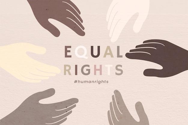 """Różnorodne ręce zjednoczone wektor """"równe prawa"""" kolorowe tło"""