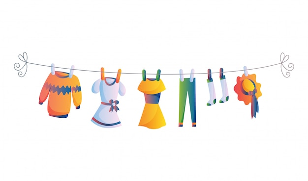 Różnorodne rzeczy dziecko odziewają na arkanie odizolowywali ilustrację na białym tle. pranie przetrzymywane przez suszenie plastikowych kołków