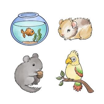 Różnorodne zwierzęta domowe