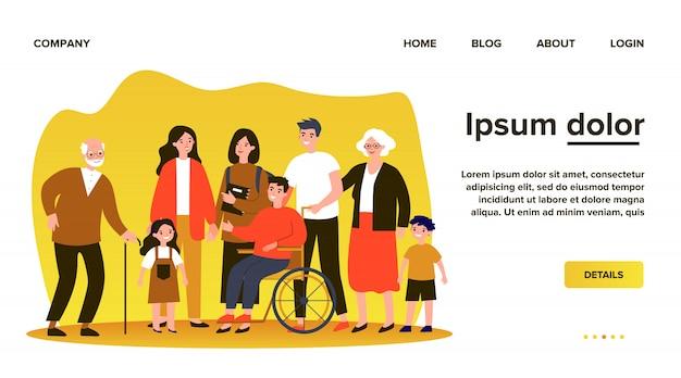 Różnorodni członkowie społeczności stojący razem. tłum szczęśliwych mężczyzn, kobiet w różnym wieku, dzieci i osoby niepełnosprawne. ilustracja społeczeństwa obywatelskiego, różnorodności, wspólnoty, koncepcji obywateli