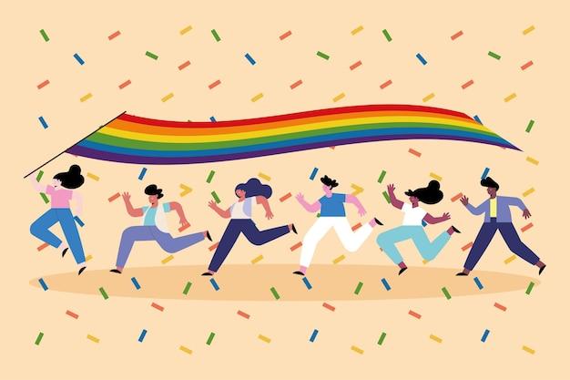 Różnorodni ludzie biegający z flagą lgtbiq