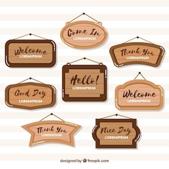 Różnorodność drewnianych znaków w płaskim stylu