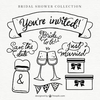 Różnorodność elementów ślubnych prysznicowych w stylu rysowane ręcznie