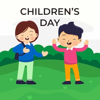 Różnorodność etniczna przyjaciele chłopcy w postaci z kreskówek bawiących się w parku, ilustracja na białym tle, koncepcja dnia dziecka
