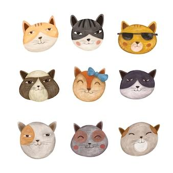 Różnorodność ilustracji ładny kot